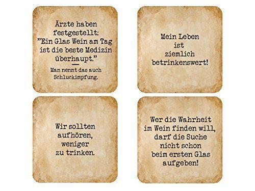 4 Stück Shabby Vintage GLASUNTERSETZER Untersetzer WEIN   LUSTIGE SPRÜCHE:  Amazon.de: Küche