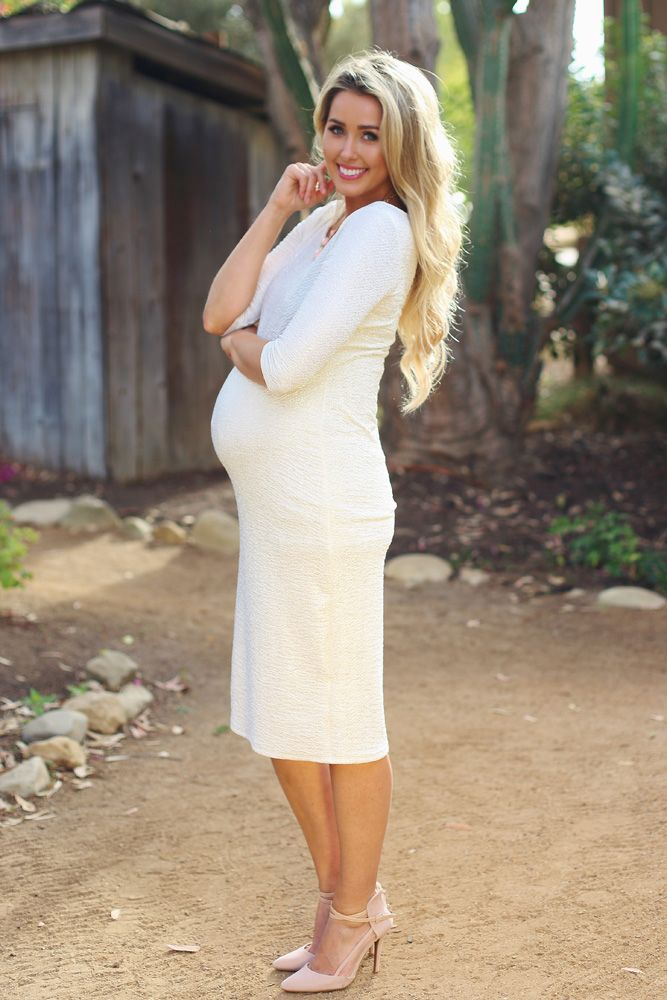 White Shimmer Fitted Maternity Dress   Dresses, Boots and Search