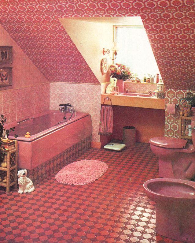 Photo of 70s pink bathroom via superseventies Tumblr