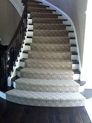 Kashian Bros Carpet And Flooring Wilmette Il Curved Staircase With Custom Runner Stair Runner Stair Runner Carpet Carpet Stairs