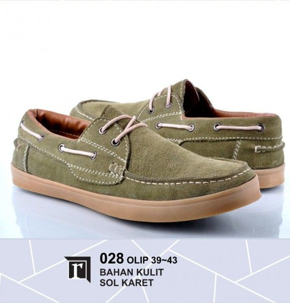 Jual Sepatu Sneakers Pria Murah bahan kulit warna hijau pakai tali