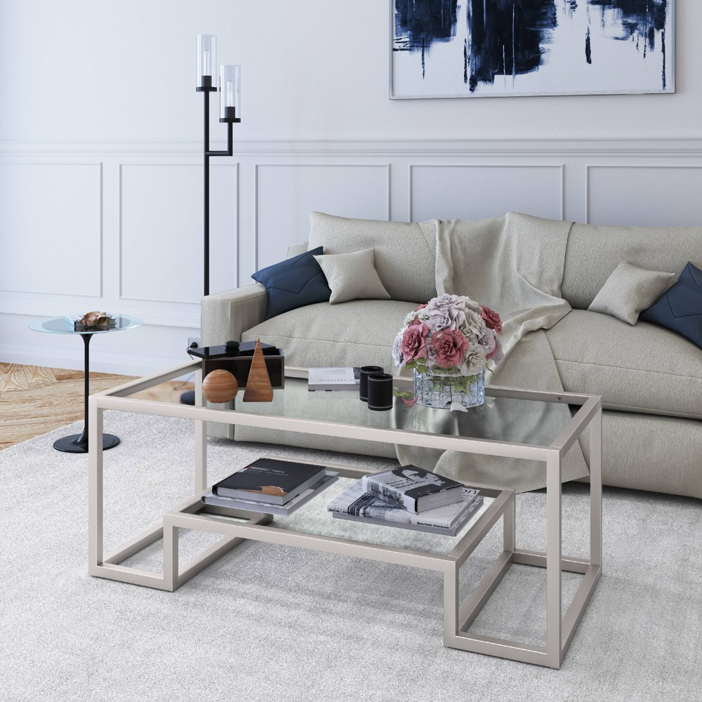 Evelyn Zoe Contemporary Coffee Table With Glass Top And Shelf Walmart Com Geometric Coffee Table Coffee Table Transitional Living Room Furniture [ 1000 x 1000 Pixel ]