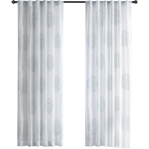 Genia Flocking Single Window Panel Aqua 50x95 In 2020