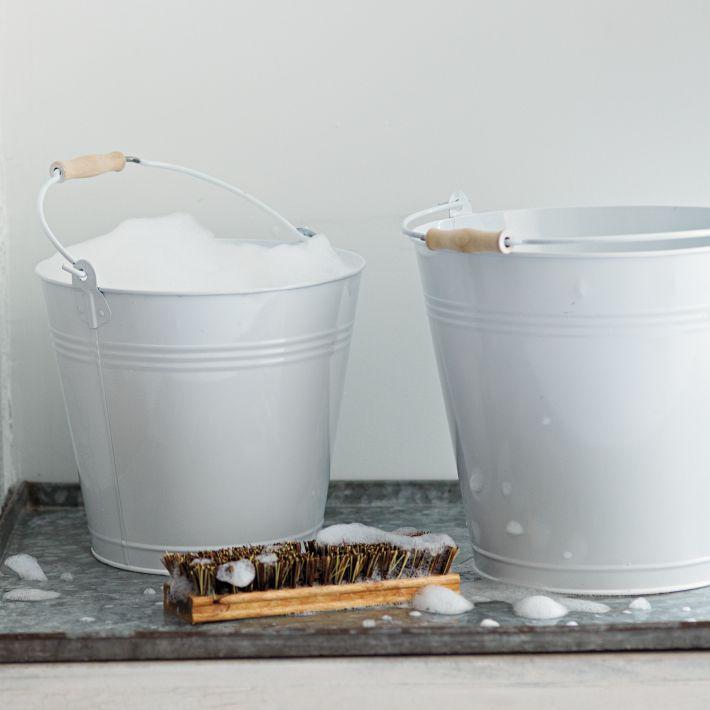 large white metal mop bucket