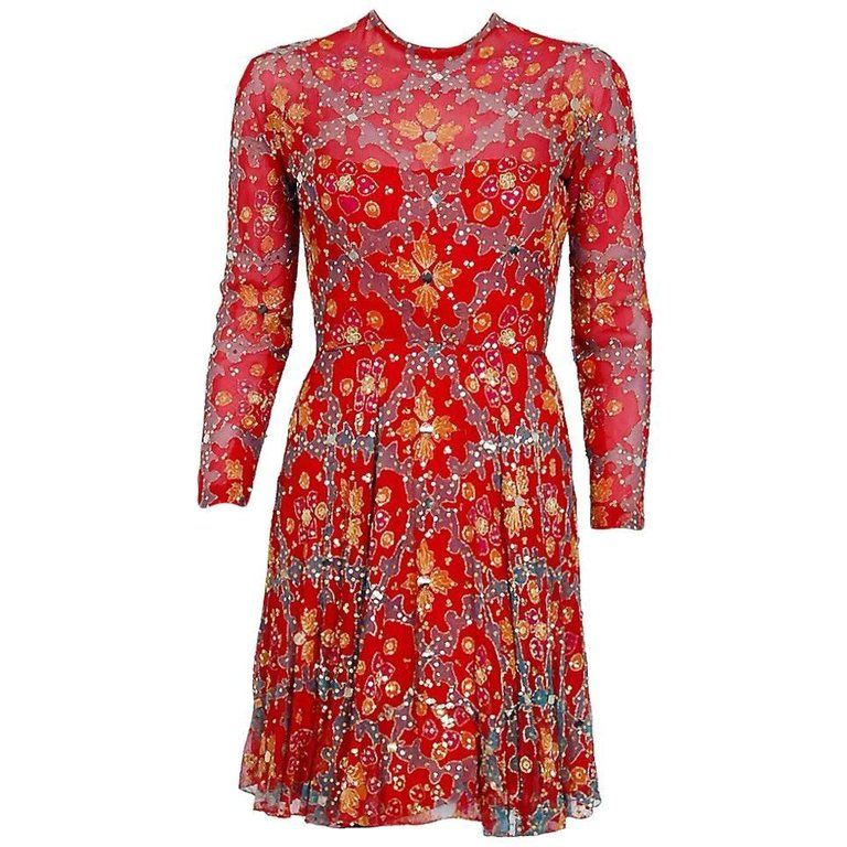 1a31b419bce 1968 Arnold Scaasi Couture Red Embroidered Sequin Indian Silk Long-Sleeve  Dress