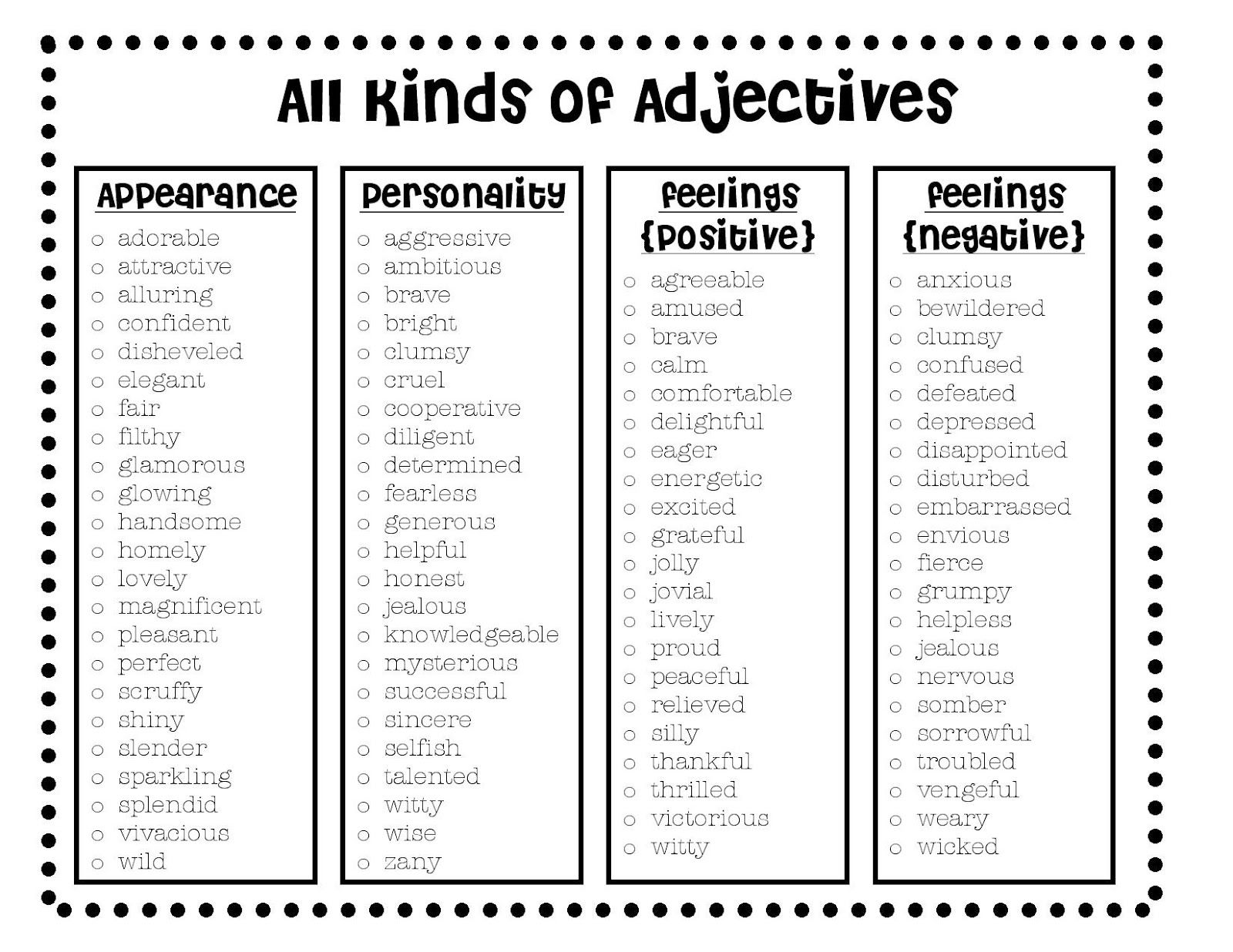 all kinds of adjectives from the esl experience tesol resources all kinds of adjectives for describing characters and their traits including appearance personality and their feelings great for a writing lesson for on