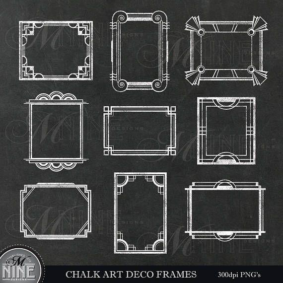 Chalk Art Deco Frames Clip Art Art Deco Chalkboard Clipart Etsy In 2021 Chalk Art Chalk Clip Art