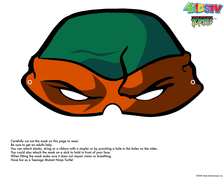 picture regarding Ninja Turtle Printable Masks identified as orange TMNT Printable halloween masks, Ninja turtle