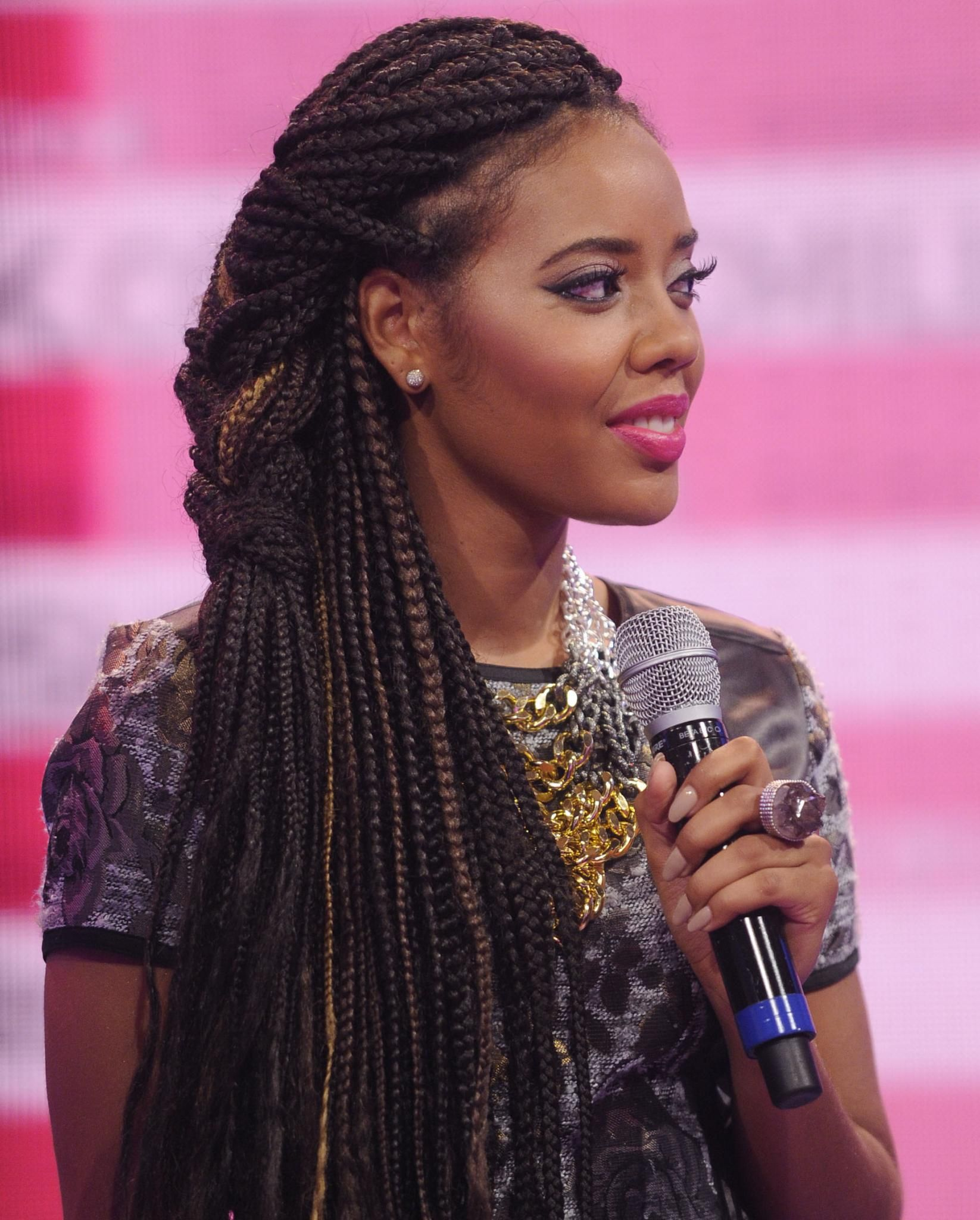 Angela Simmons rocks a braided style with subtle highlights