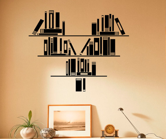 Wall Vinyl Decal Books Stickers Reading Room Library Interior Etsy Vinyl Wall Decals Wall Painting Decor Vinyl Wall