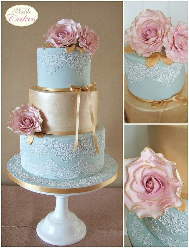 Duck Egg Blue Lace And Gold Shimmer Wedding Cake By Pretty Amazing Cakes In Bristol