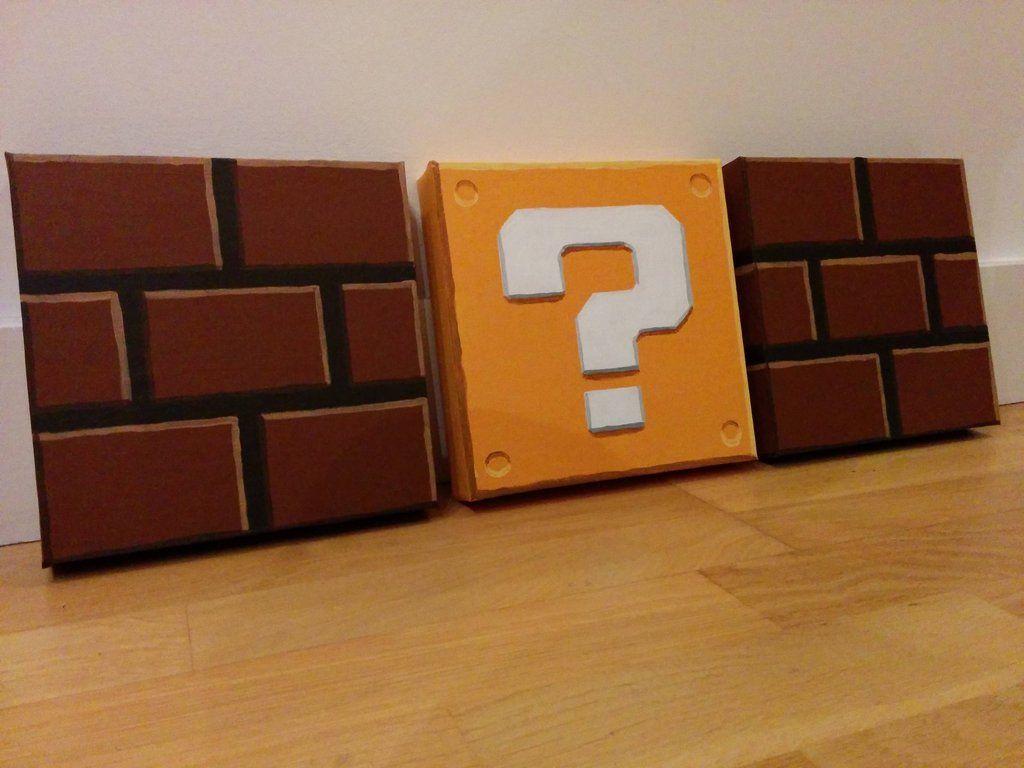I painted some mario block canvases in 2019 bake make mario room gamer room super mario room - Deco chambre mario ...