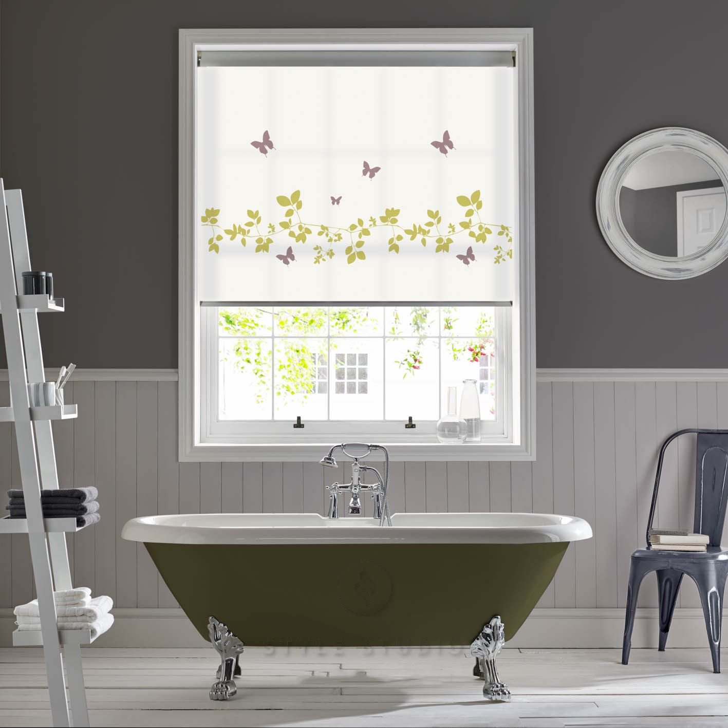 Window blinds bathroom - Senses Roller Blinds Vine And Butterfly