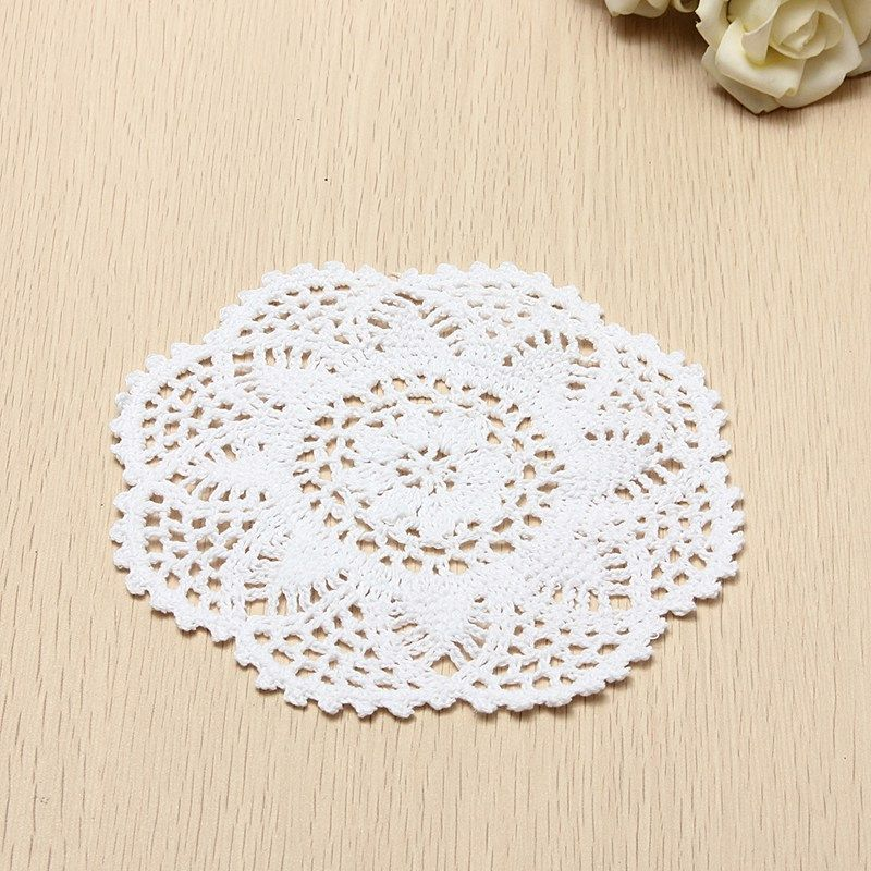18CM White Cotton Hand Crochet Floral Lace Round Doily Placemat Table Mat Wedding Home Decoration Handmade Arts Crafts Gifts