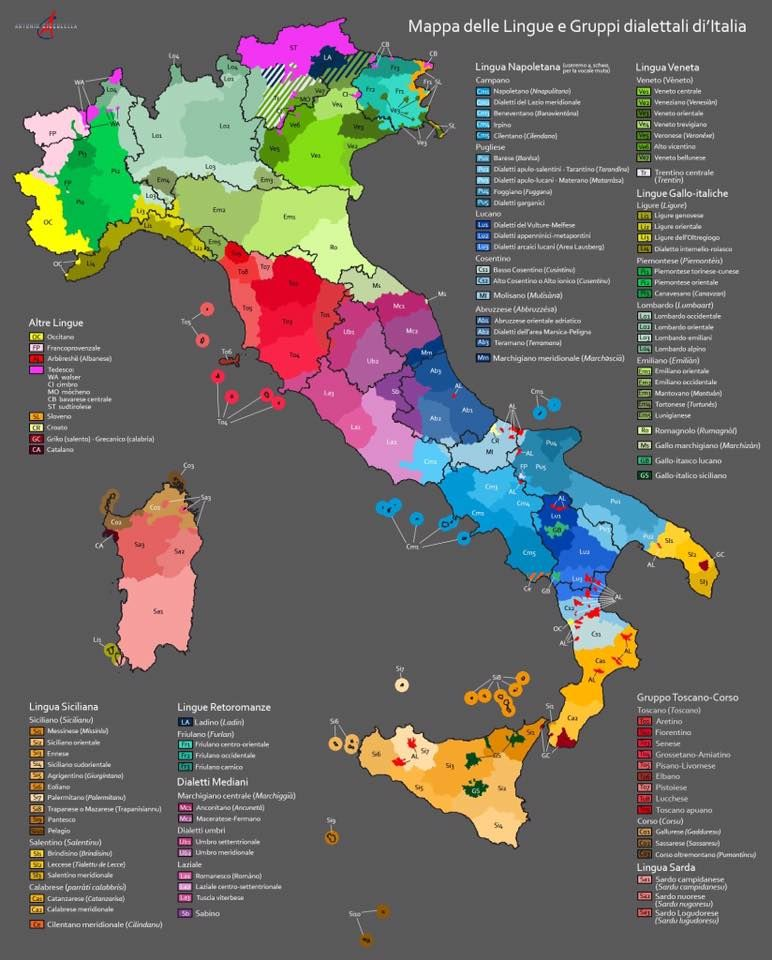 dialects in Italy linguistic map of Italy