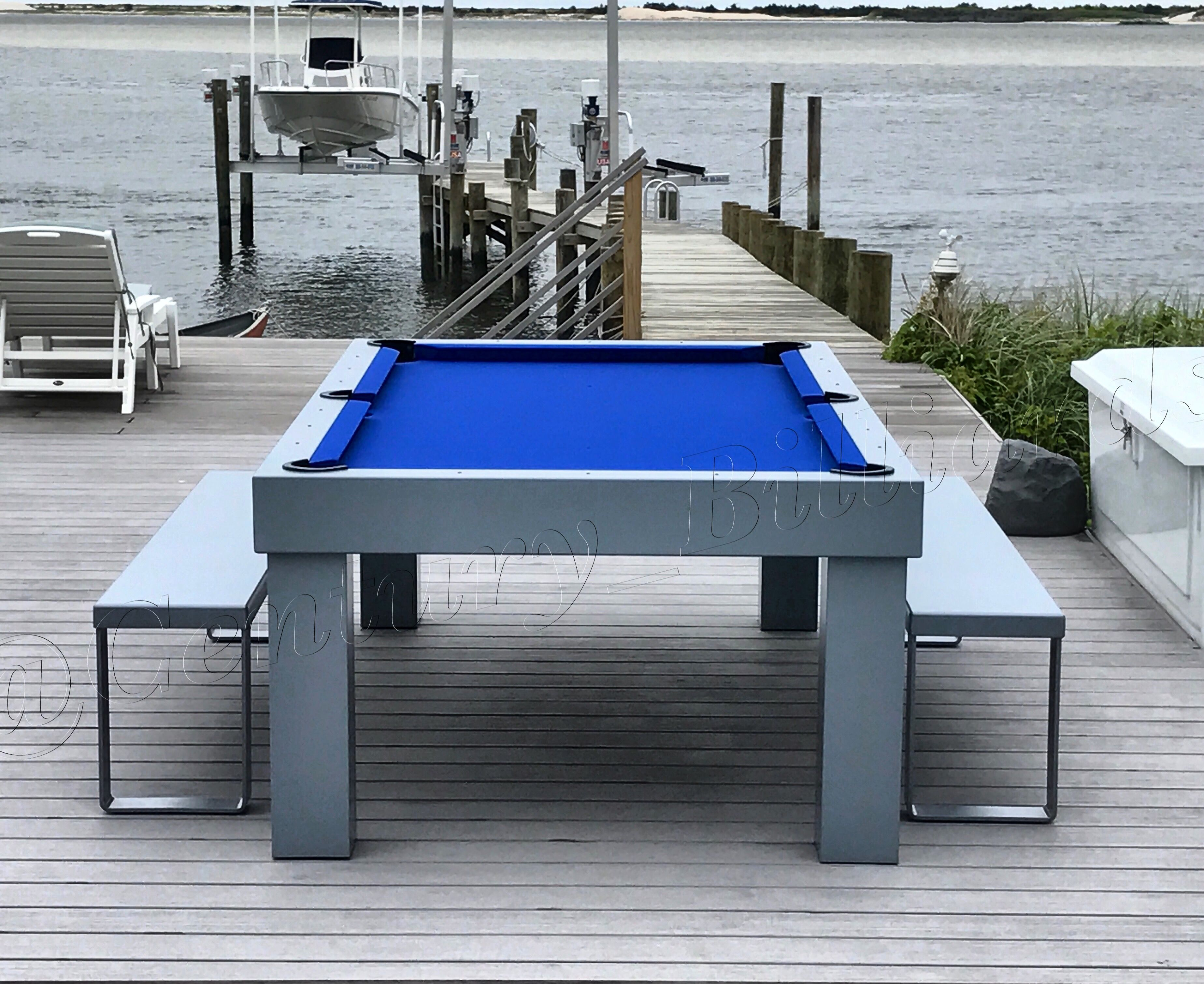 Custom Outdoor Pool Table, Shown With Optional Bench Set. This Table Is  100% Waterproof, And Is Great For Dining As Well With Our Optional Dining  Table Top.