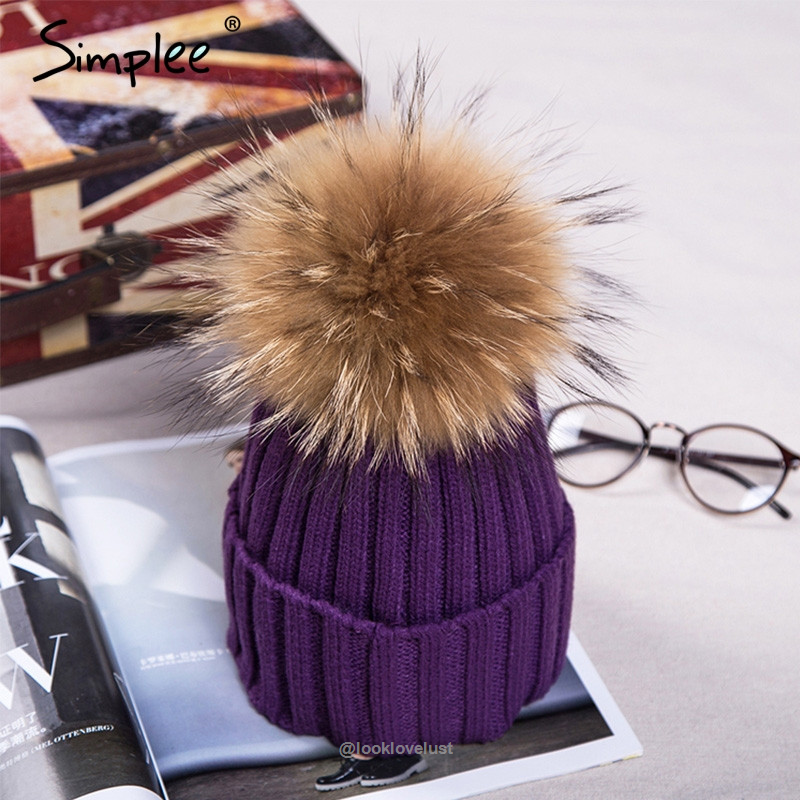 Women/'s Real Mink Fur Hat Winter Knitting Protected Ear /& Head Cute Pompoms Caps