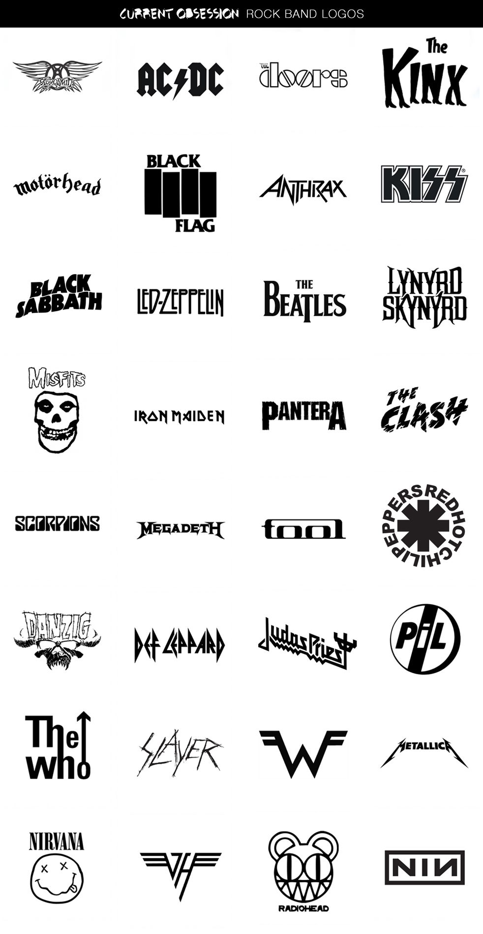 Current Obsession Rock Band Logos Rock Band Artisti