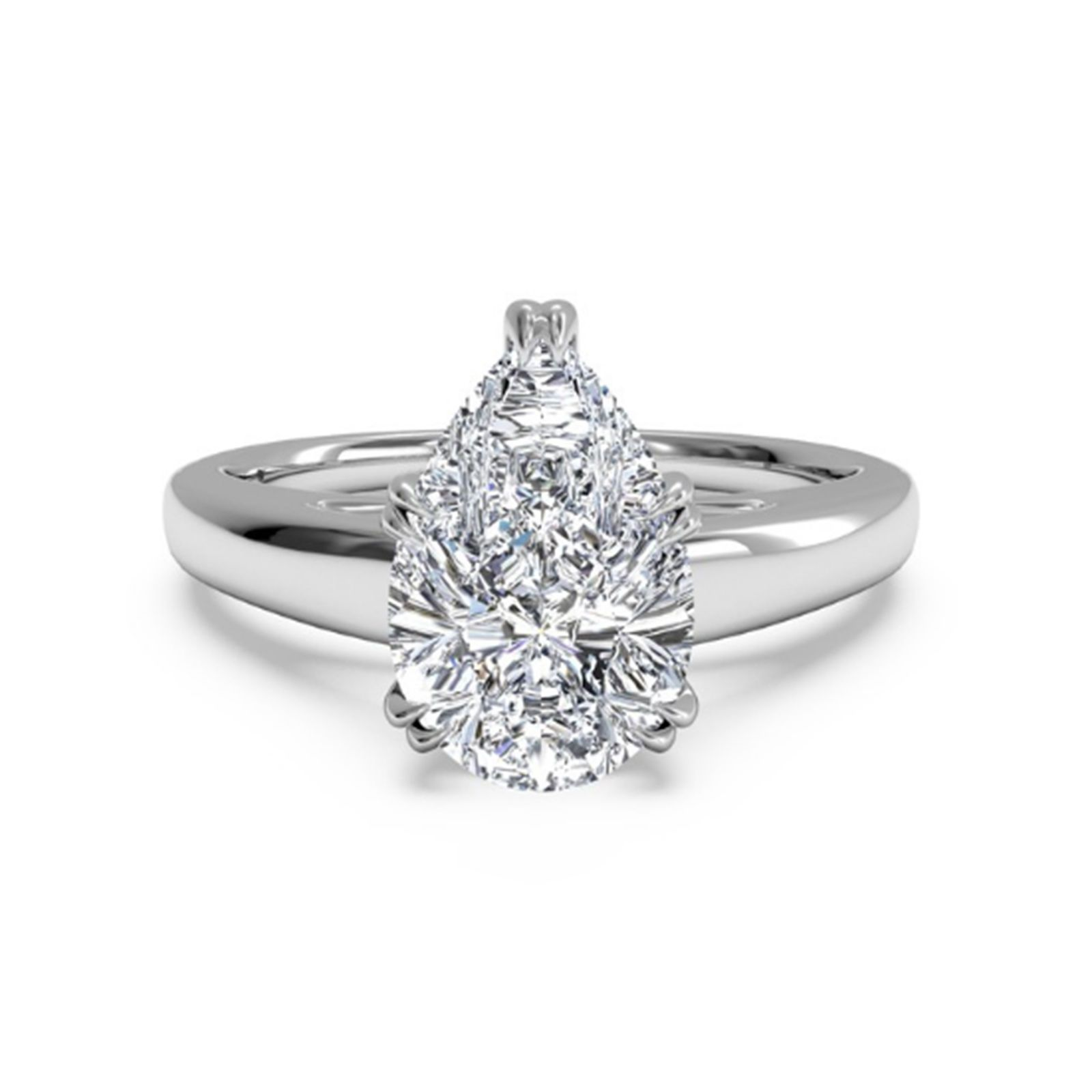 Pear Shape 2 00Ct Diamond Engagement Rings 14k White Gold Pear Cut