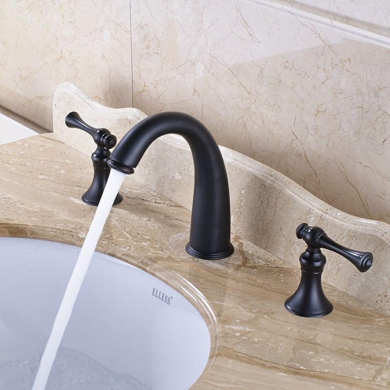 Traditional Solid Brass Countertop Bathroom Sink Faucet Double ...