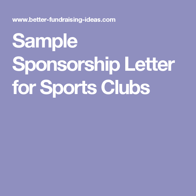 Sample Sponsorship Letter for Sports Clubs | Fundraising
