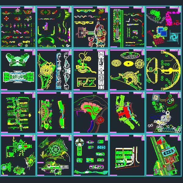 Landscape design Collection- designs, symbols and details ...