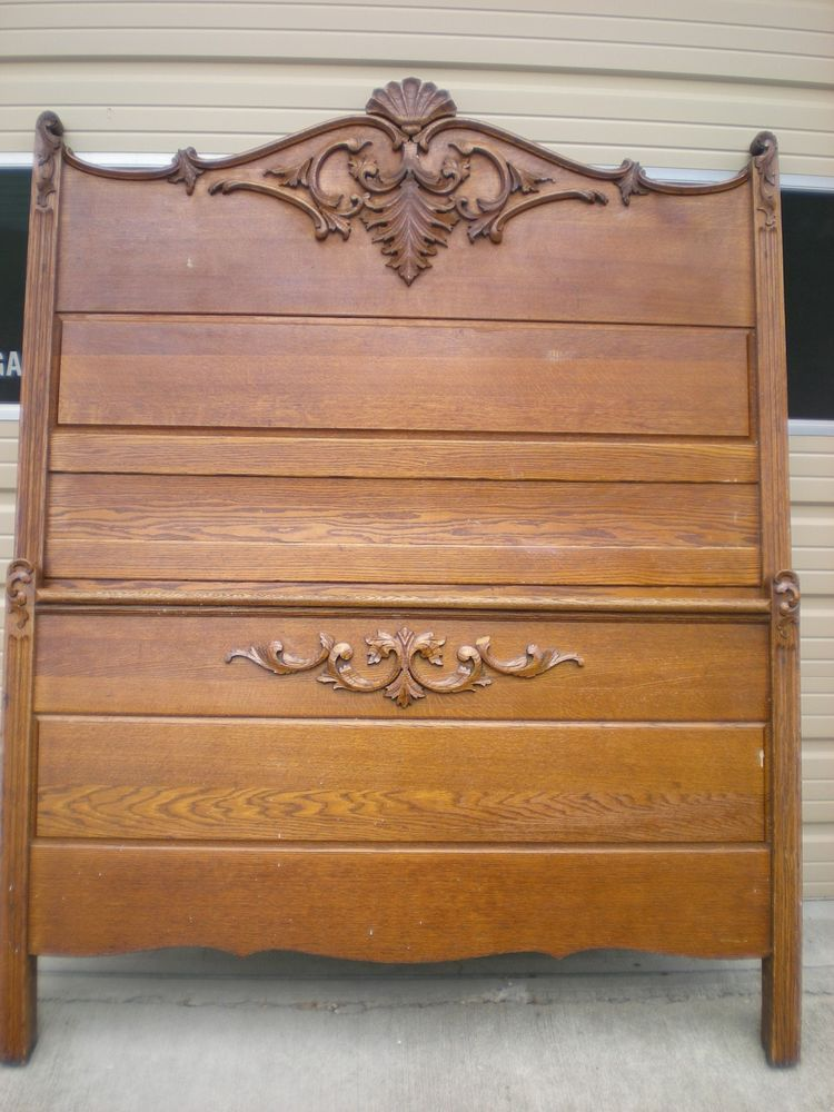 Antique Oak High Back Bed