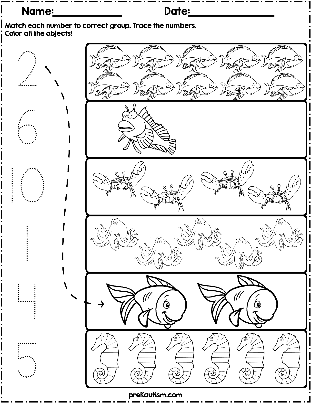 $1.50   Use these worksheets to teach quantity counting and number writing!  Pack includes 10 ocean animal the…   Numbers preschool [ 1650 x 1275 Pixel ]