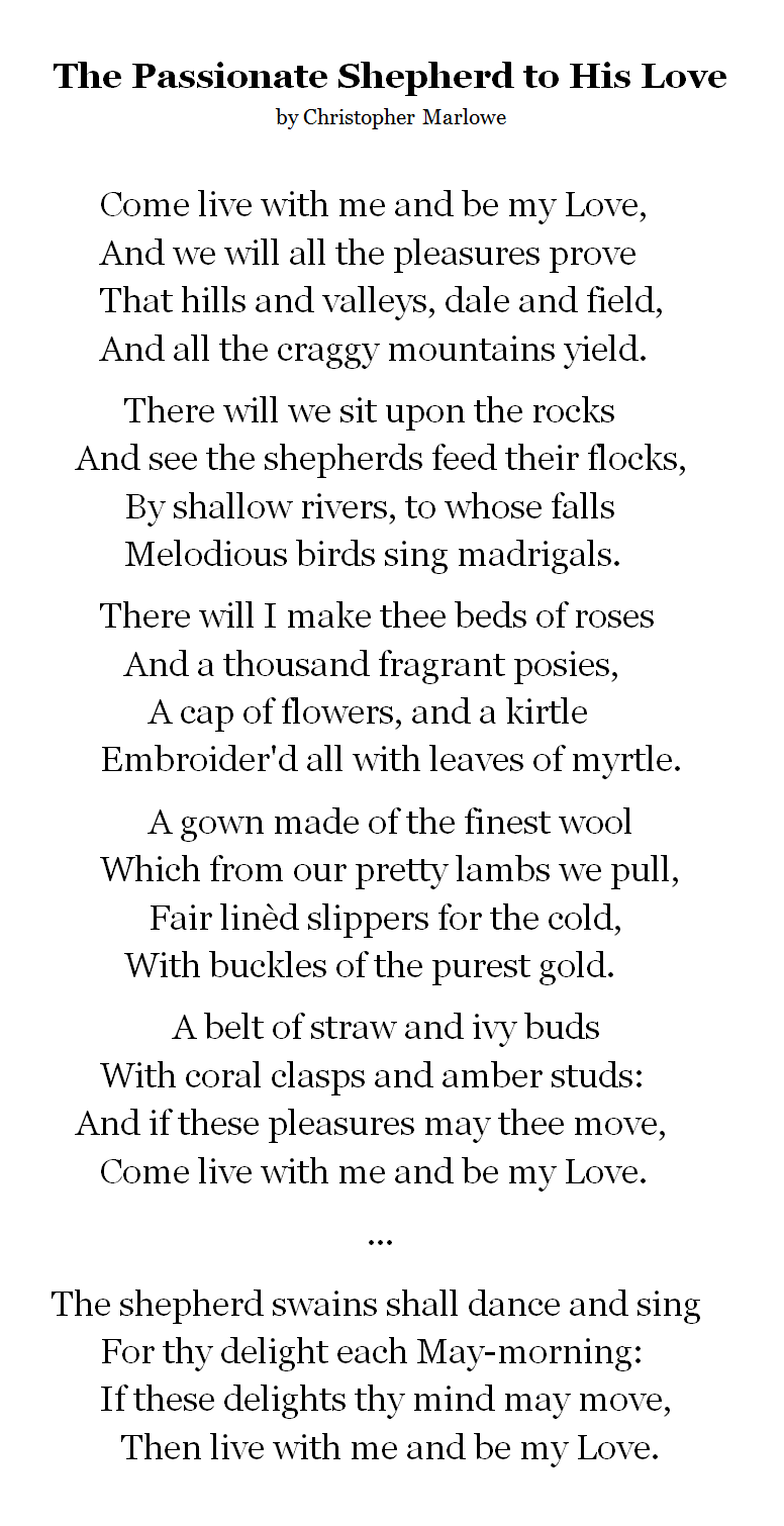 the passionate shepherd to his love meaning per stanza
