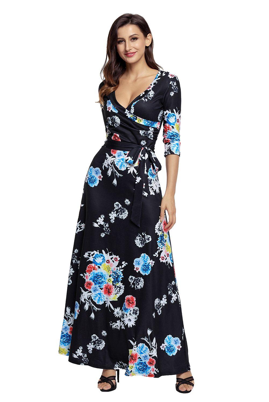 Black floral print wrapped boho long dress boho dress