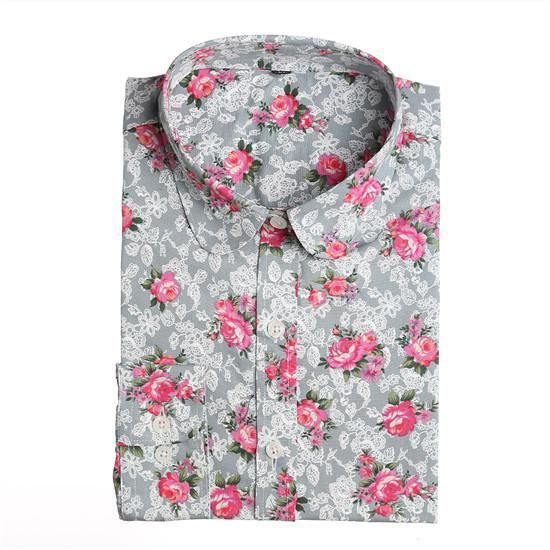 Summer Casual/Office Cherry Print Long Sleeve Blouse