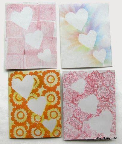 kids valentine craft Reverse Stamped Hearts chalk pastel