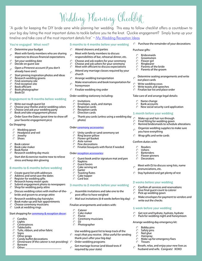 Printable Wedding Planning Checklist for DIY Brides - My Wedding Reception Ideas Blog