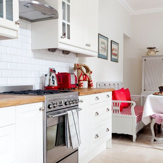 Red Kitchens With White Cabinets: Modern White Kitchen With Red Accessories