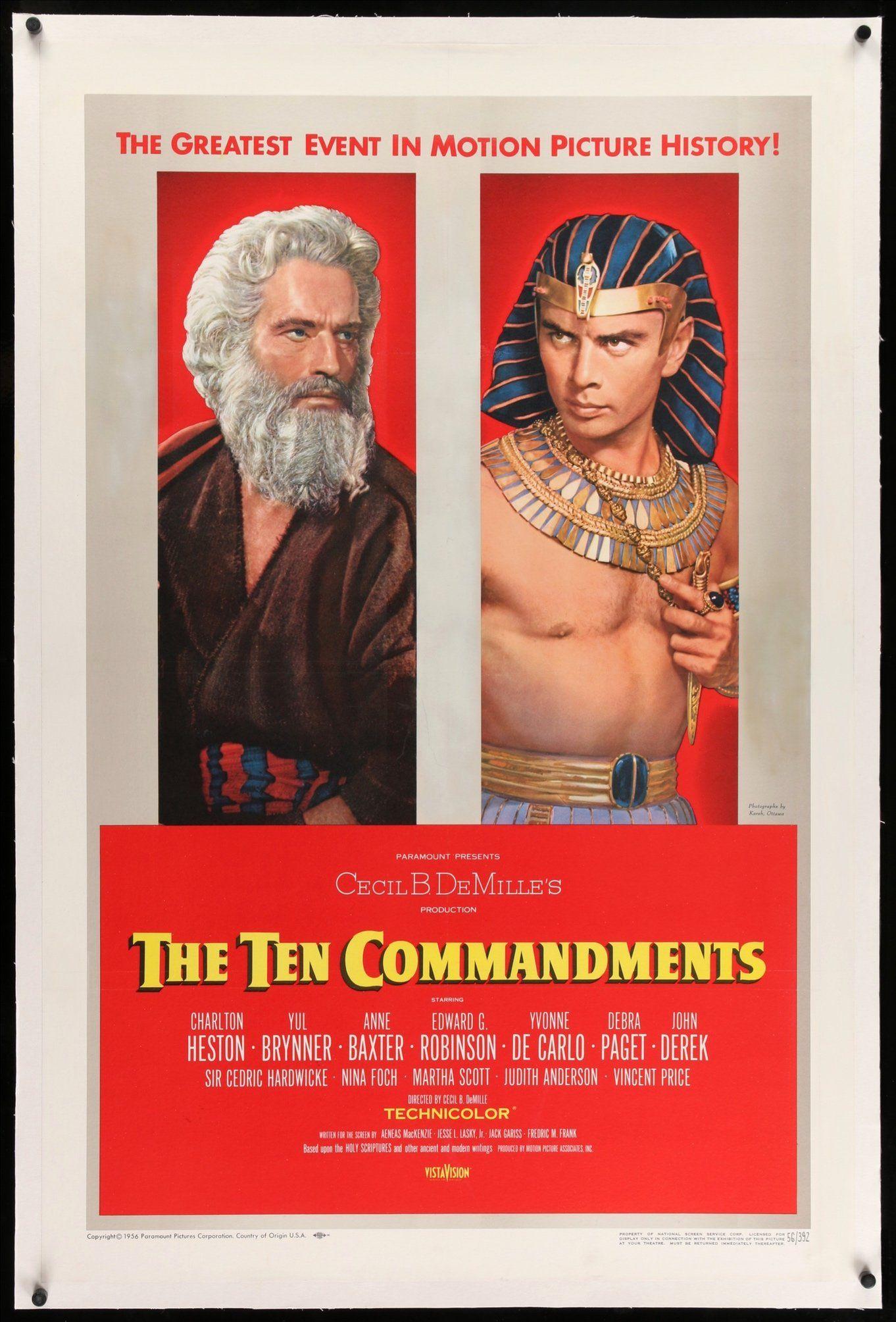 Ten Commandments 1956 Movie Posters Vintage Vintage Movies Classic Movie Posters
