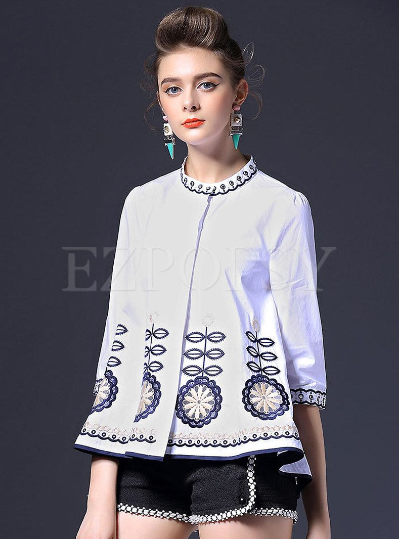 Shop for high quality Embroidery Bead A-Line Blouse online at cheap prices and discover fashion at Ezpopsy.com