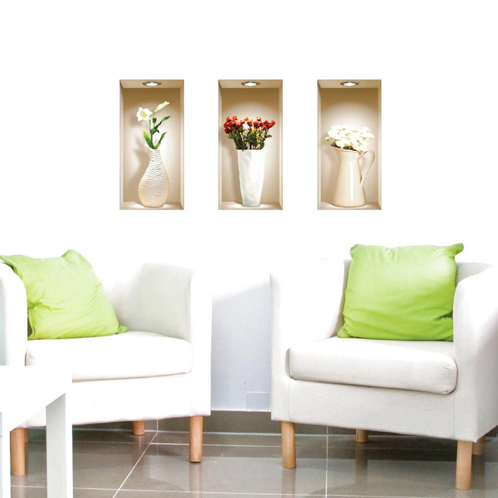 Set art wall stickers d picture vinyl removable home decor tile