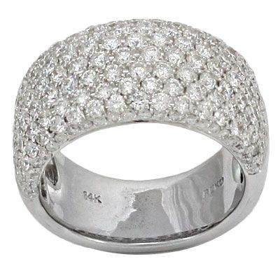 Exquisite White Gold Wide Diamond Pave Wedding Band Offers Carats In Round Brilliant Cut Diamonds