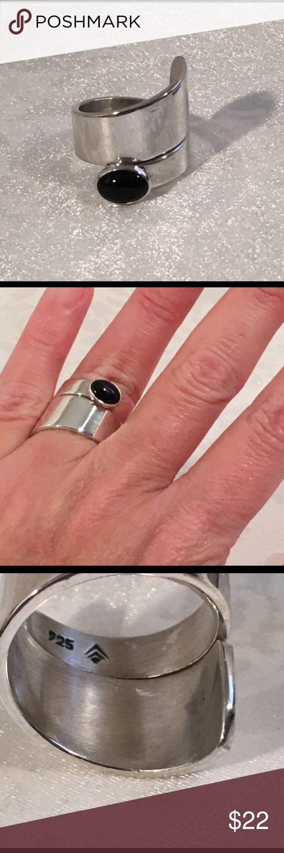 Silpada Sterling Silver Black Onyx Bypass Ring Lovely- Silpada ...