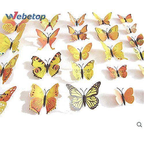 Home Decor 24pcs 3D Fashion Butterfly Animal Wall Sticker PVC ...