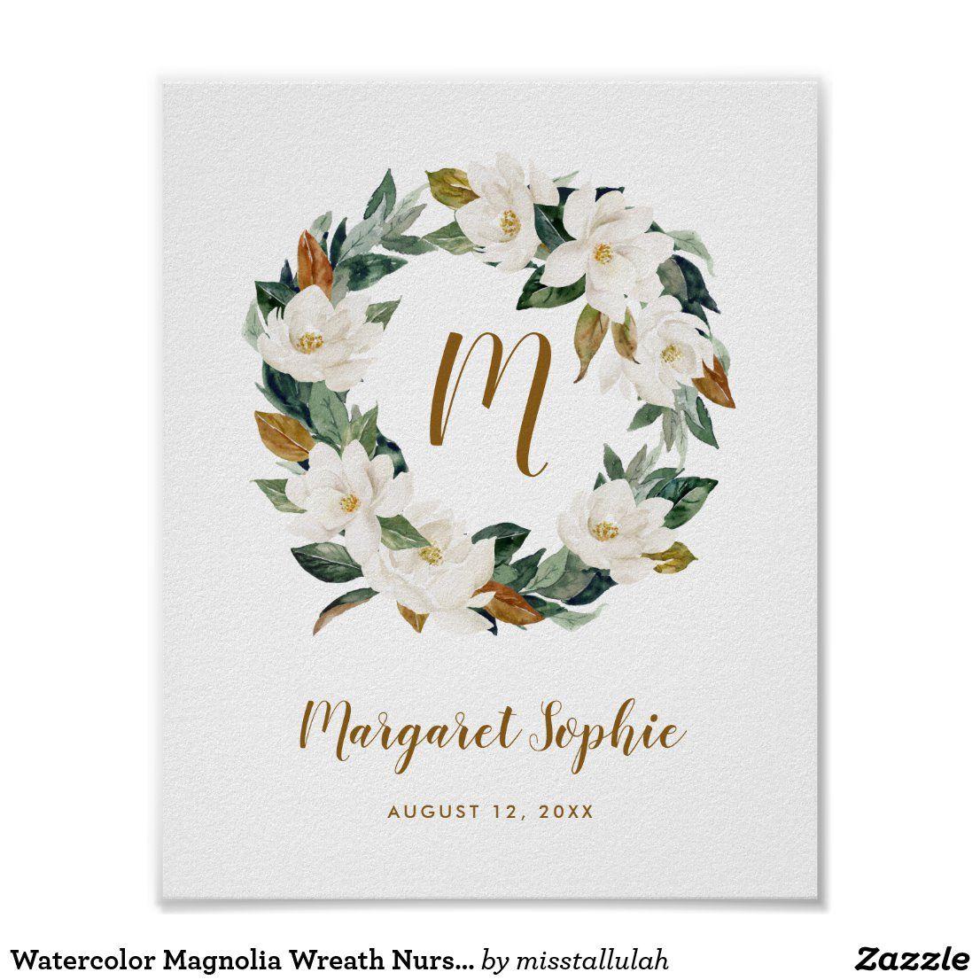 Photo of Watercolor Magnolia Wreath Nursery Baby Monogram Poster   Zazzle.com