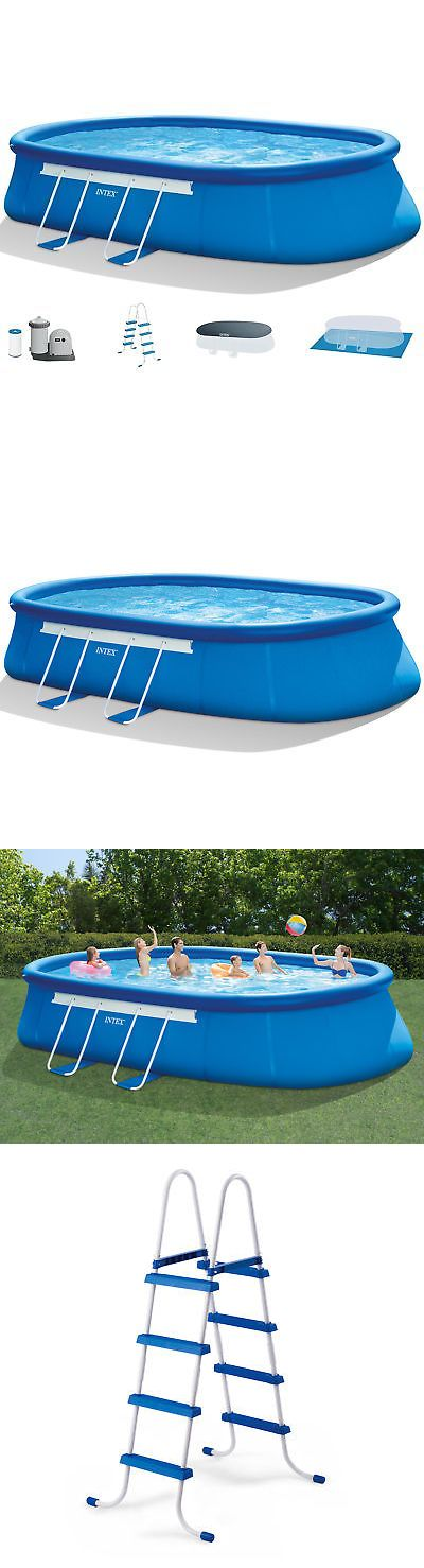 Above Ground Pools 116405 Intex 20 X 12 X 48 Oval Frame Above Ground Swimming Pool Set Pump And Lad Above Ground Swimming Pools Swimming Pools In Ground Pools
