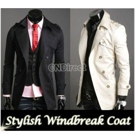 Men\'s Korea Slim Classic Double Breasted Wool Coat Jacket
