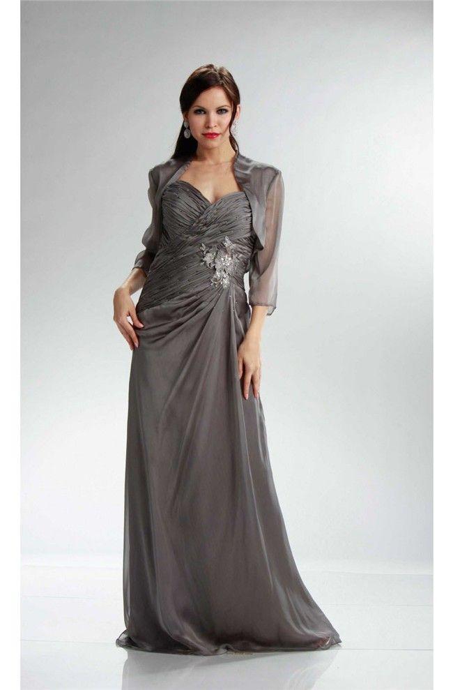 Sheath Charcoal Gray Chiffon Ruched Mother Evening Dress Bolero ...