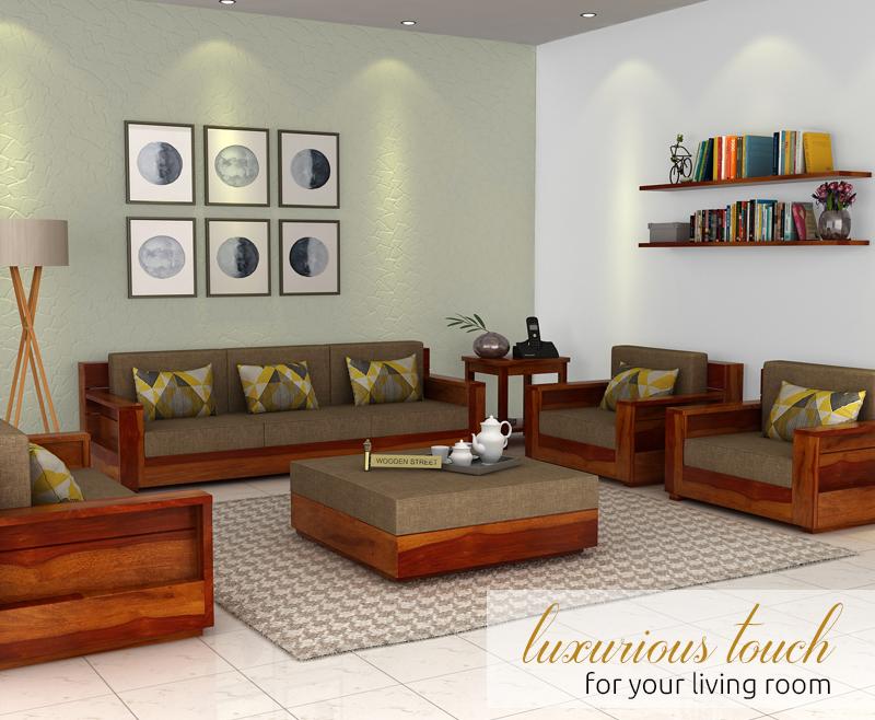 Buy Marriott 3 Seater Wooden Sofa Honey Finish Online In India