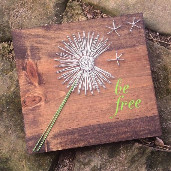 be free dandelion string art there is no tutorial for this. Black Bedroom Furniture Sets. Home Design Ideas