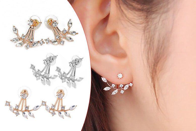 Double Crystal Leaf Earrings