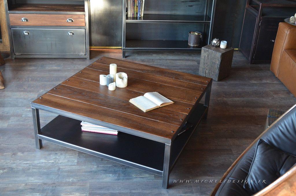 Table de salon bois acier - Artisan créateur - Fabricant Français ...