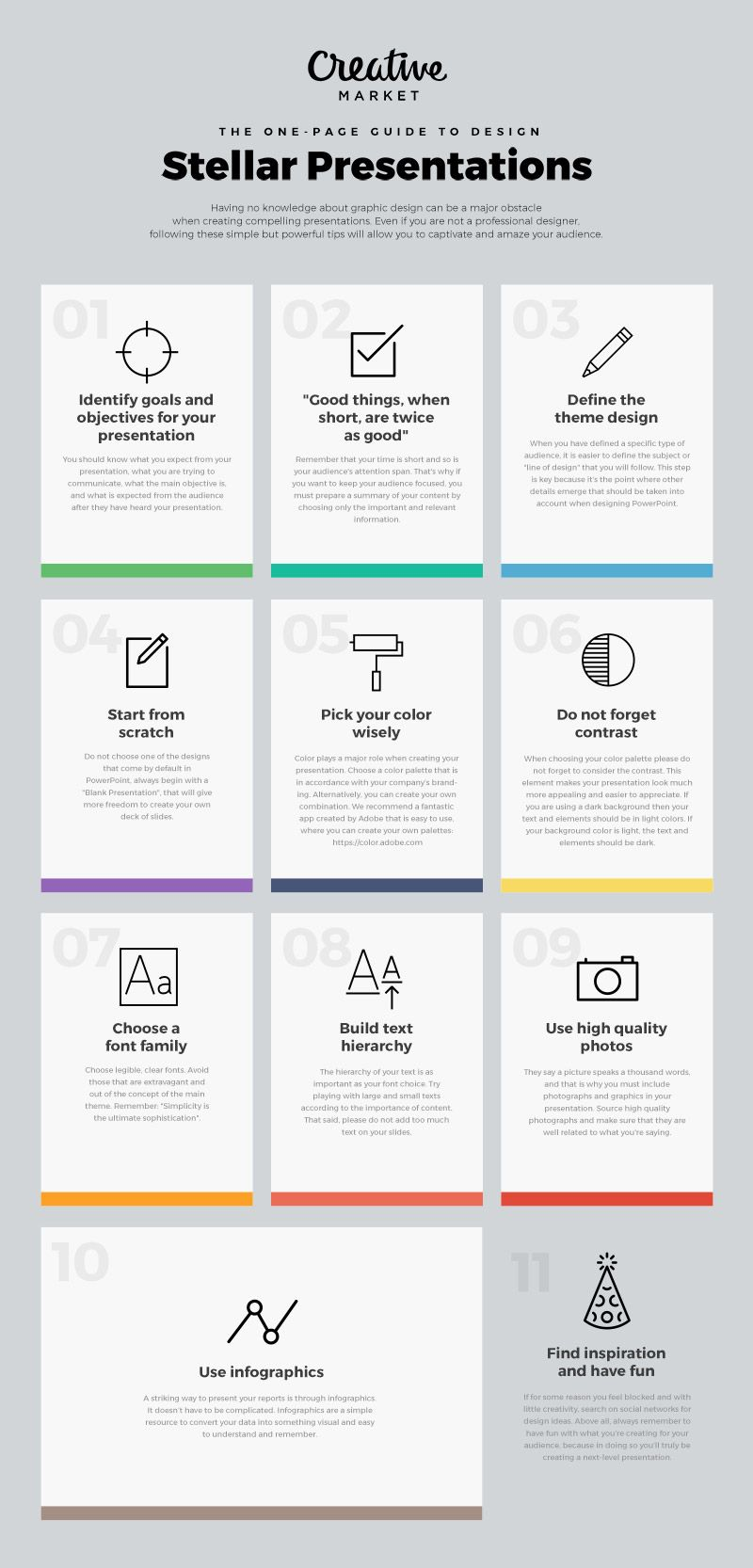 The One Page Guide To Design Stellar Presentations Graphic Design Tips Presentation Presentation Design