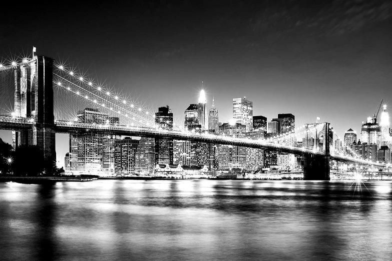 New York Black And White Brooklyn Bridge Manhattan Skyline
